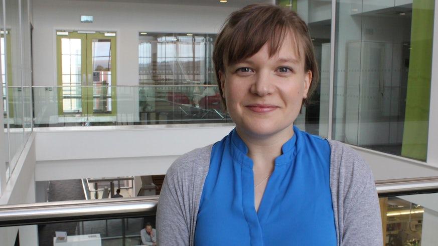 Katie Lewis in Hadyn Ellis Building