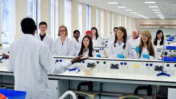 Students being taught in one of the labs