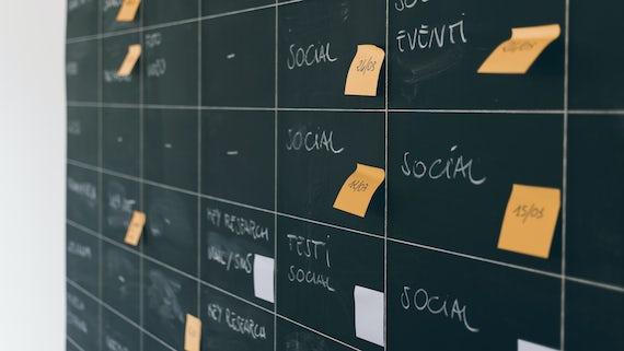 Post-it notes on chalkboard