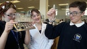 Year 7 and 8 pupils in a chemistry lab - Salters Chemistry Festival 2014