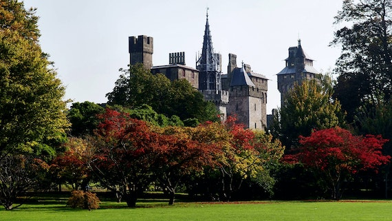 View of Cardiff Castle from Bute Park