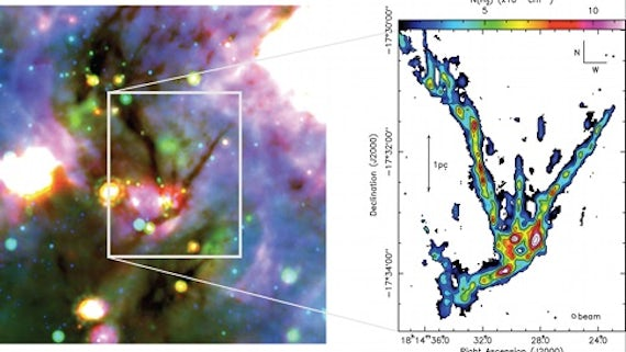 Left: three colour composite image of SDC13; Right: Brand new, high resolution map of SDC13.