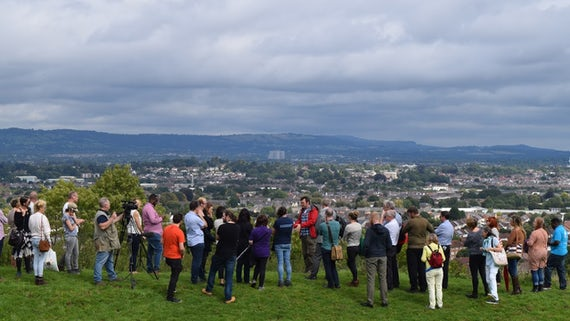 Crowd on CAER hillfort site