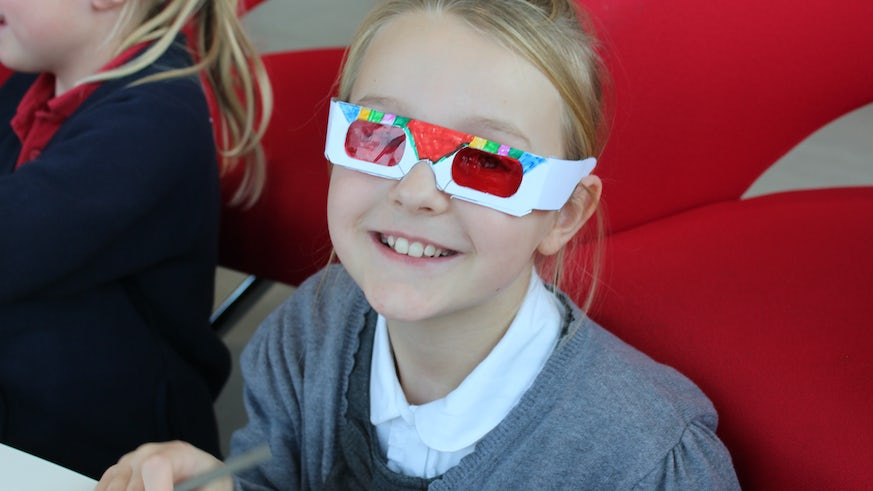 Old Castle pupil with red filter glasses