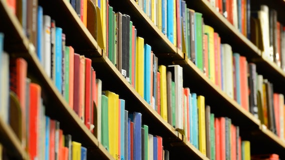 Books on a library shelf