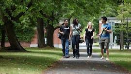 International students walking through campus