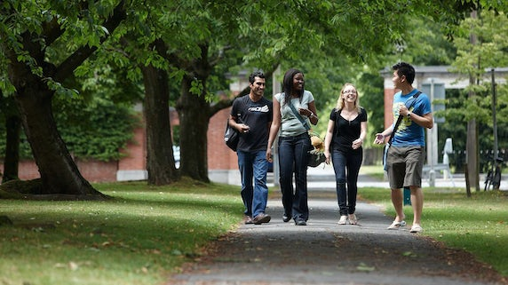 International students walking through campus