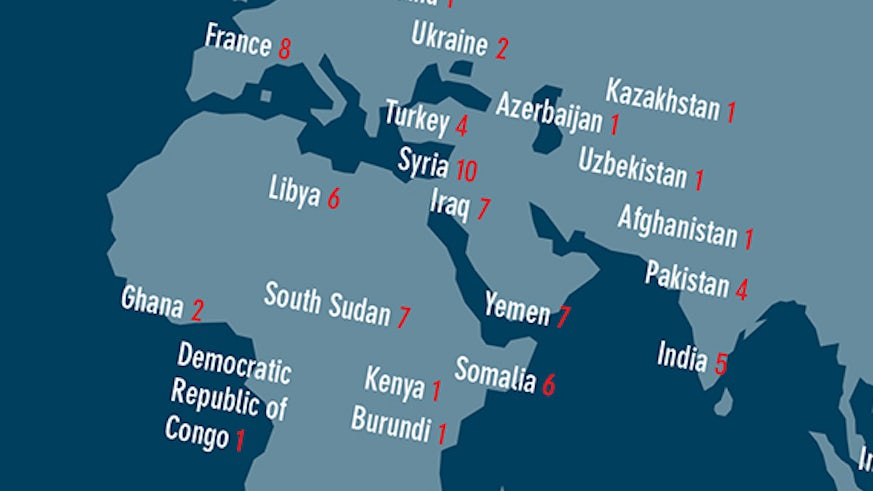 An image indicating where inthe world journalists were killed from the INSI report