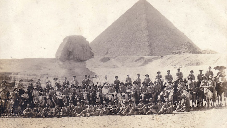 Group of World War One soldiers in front of a pyramid