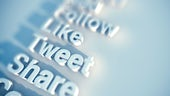 A blurred image of the words follow, like, tweet, share.