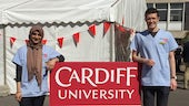 Students on Open Day at the marquee