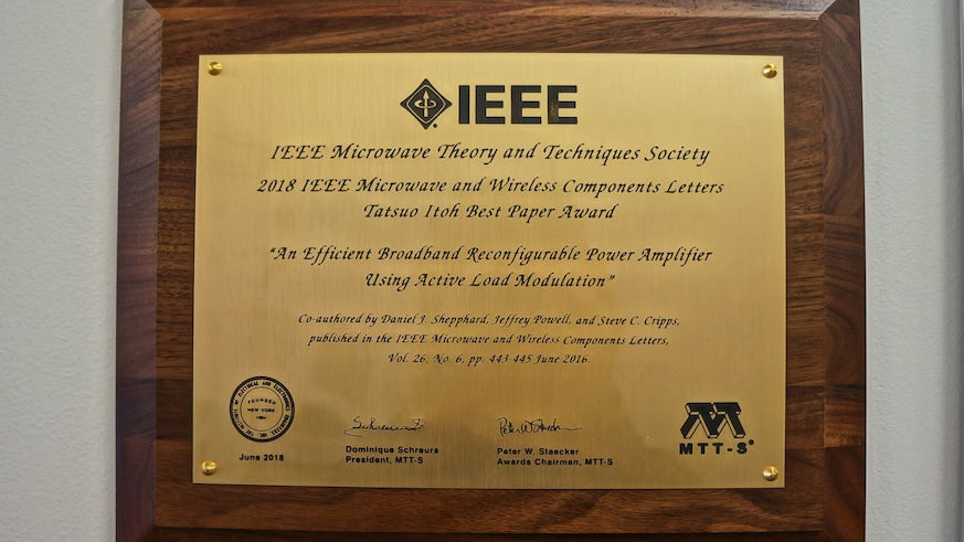 Picture of winning plaque for best paper prize