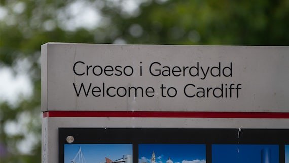 Welcome to Cardiff sign