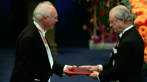 Sir Martin Evans receiving the Nobel Prize for medicine.