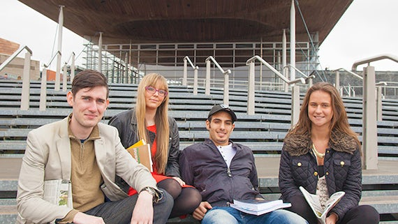Students in Cardiff Bay