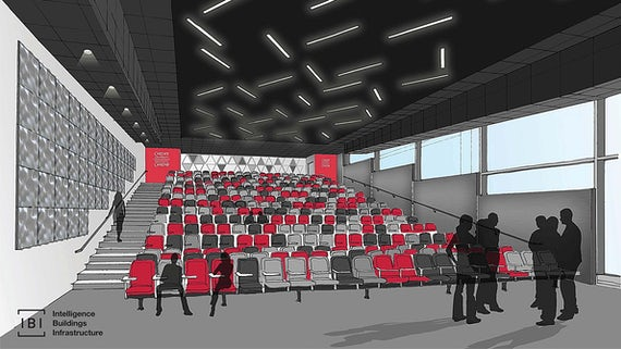 Artist's impression of a large lecture theatre within the new building.