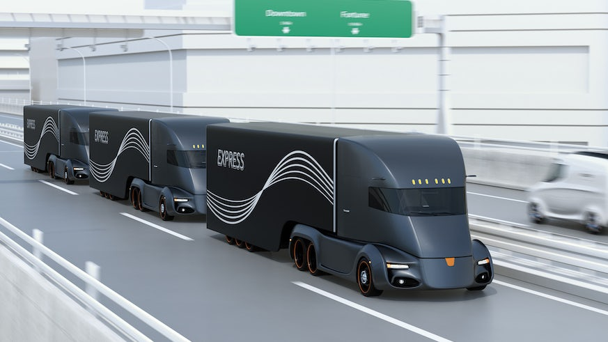 Simulated image of lorries