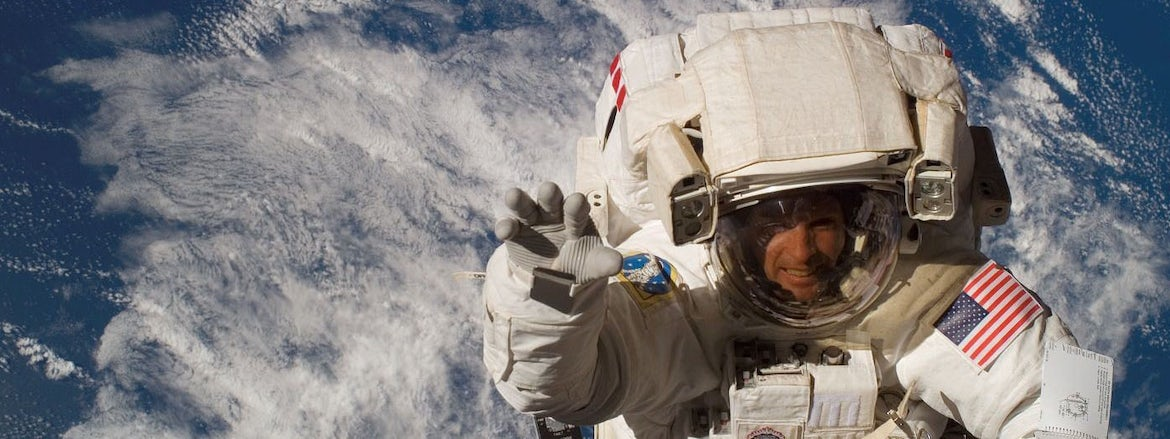 NASA astronaut Steve Swanson in space