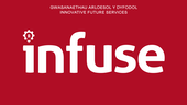 Infuse project logo with white text on red background