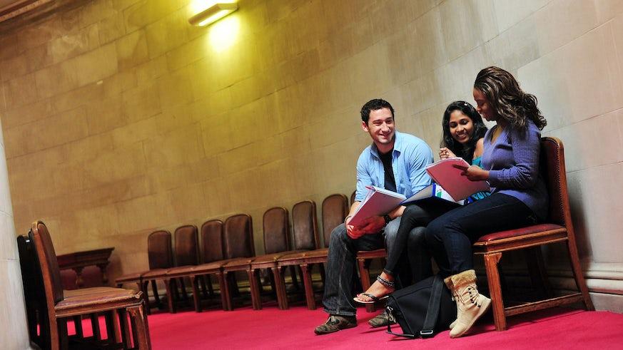 Students in Glamorgan building