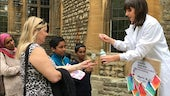PhD student Sarah Gore demonstrating the use of indicator fluid at Soapbox Science Oxford