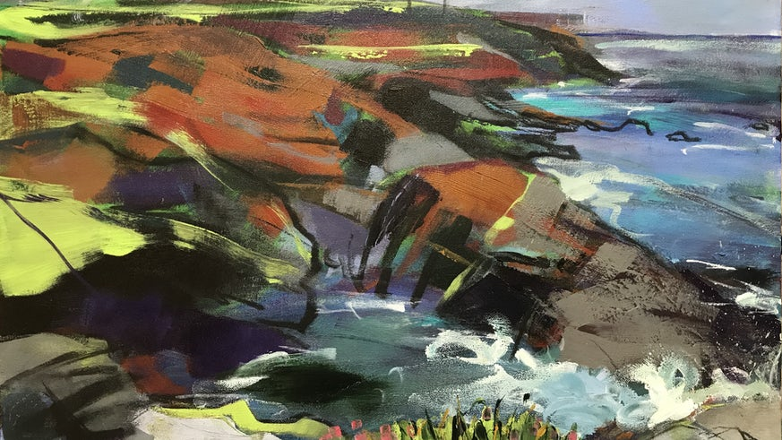 Painting of Pendeen Cliffs by Ria Poole