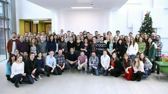 Three rows of people standing together and smiling into the camera.