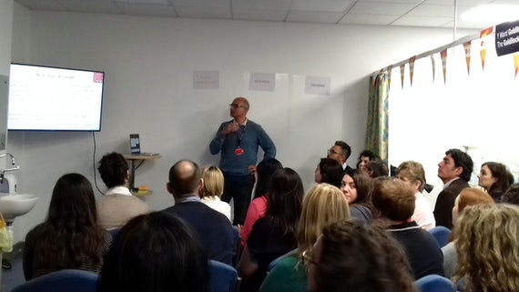 Prof Peter Ghazal introducing the audience to the Sepsis Engagement Centre.