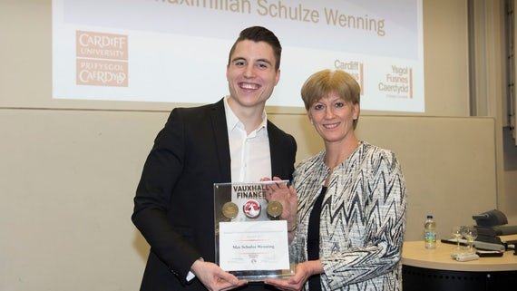Maximilian Schulze Wenning receiving his Vauxhall Finance Award of Excellence