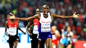 Mo Farah crosses the finish line in Beijing