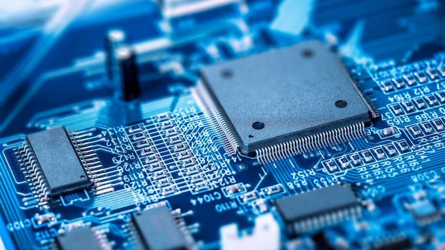Microprocessor on blue circuit board