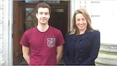 Cardiff student Niko Kommenda and The Guardian's editor-in-chief Katherine Viner