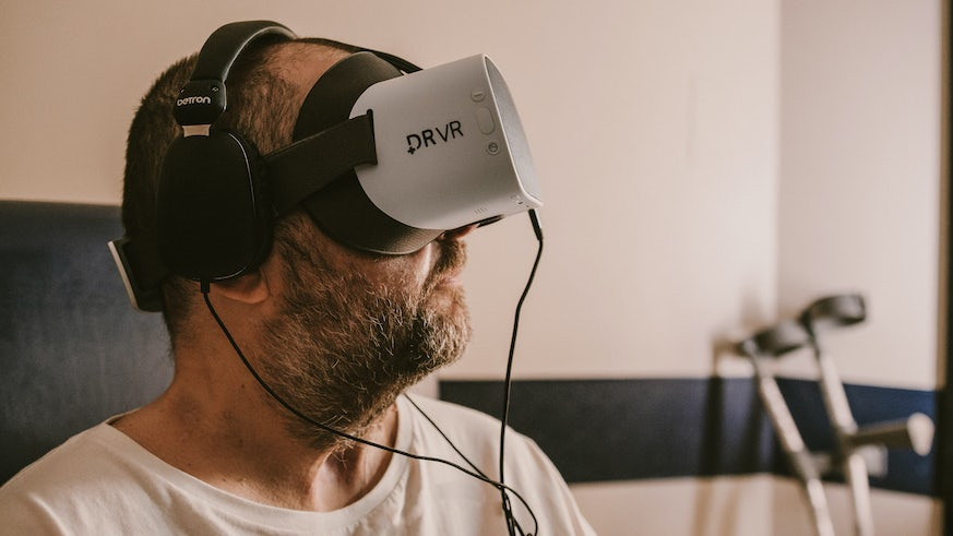 Patient using VR headset
