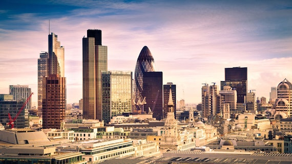 Financial district in London