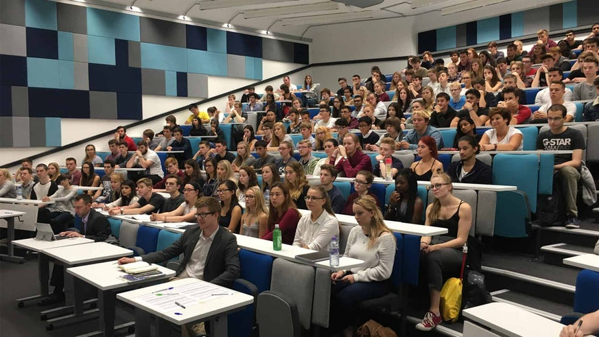 Undergraduate students in the newly refurbished Large Chemistry Lecture Theatre
