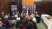 Delegates at the Welsh Labour conference listening to a panel debate