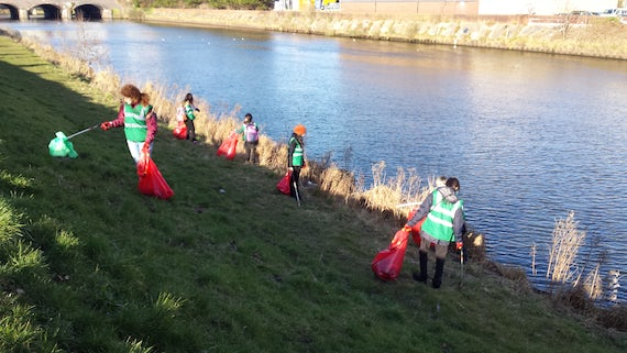 The Community Gateway litter pick team on the banks of the Taff