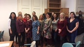 Representatives from the Czech Midwives Association, Prof Billie Hunter and Lynn Lynch MBE Cardiff University