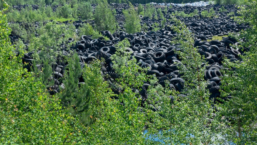 A photo of discarded tyres