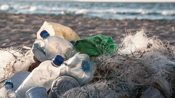 Image of plastic bottles on a beach