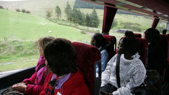 Students on a coach