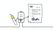 Cartoon person holding document