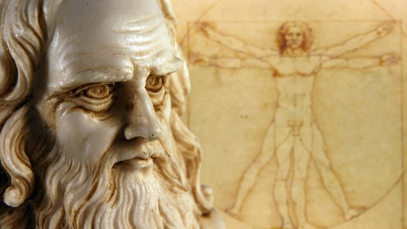 da Vinci statue and Vitruvian Man