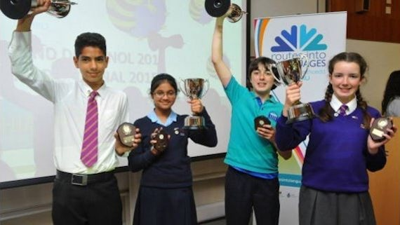 Students celebrate at a Routes into Languages Spelling Bee competition