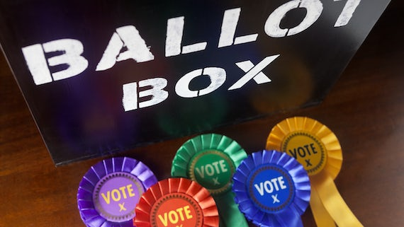 Ballot box with rosettes