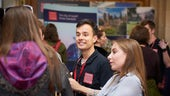 Current student talking to Open Day visitors