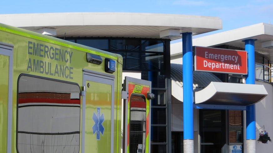 Image of an ambulance outside an a&e department