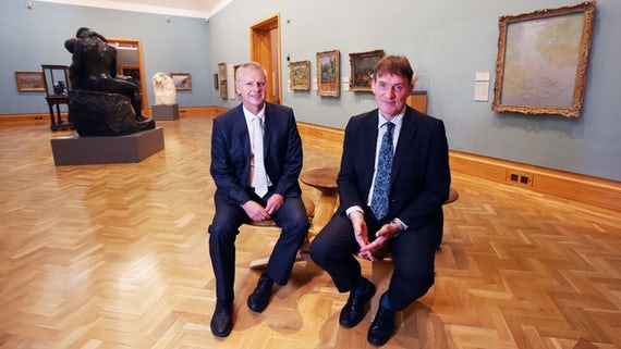 Cardiff University Vice-Chancellor, Professor Colin Riordan, and National Museum Wales Director General, David Anderson in the National Museum, Cardiff