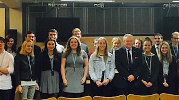 Students at the Senedd with Lord Elis-Thomas