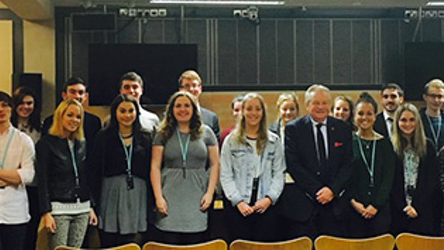 Students at the Senedd with Lord Elis-Thomas